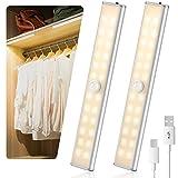 Luz Armario LED con Sensor de Movimiento, AGPTEK 1000mAh Lámpara con 24 LED Magnético USB Recargable con 4 Modos, para Escaleras, Pasillo, Cocina, Pack 2