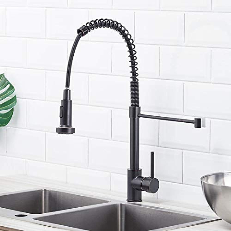 Lddpl Wasserhahn Schwarz l Eingerieben Küchenarmaturen Herausziehen Spülbecken Wasserhahn Antik Messing Mixer Einhand-Wasser-Mischbatterie
