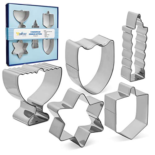 Aviv Judaica Hanukkah Cookie Cutters Set Stainless Steel Cookie Cutters - 5 Fun Cookie Molds Chanukah Shapes - Menorah - Dreidel - Candle - Maccabee Shield - Star of David