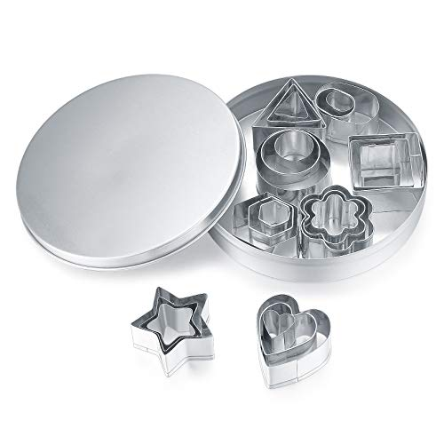 24 Pcs Cookie Cutters Shapes, Small Biscuit Mould Cutters, Stainless Steel...