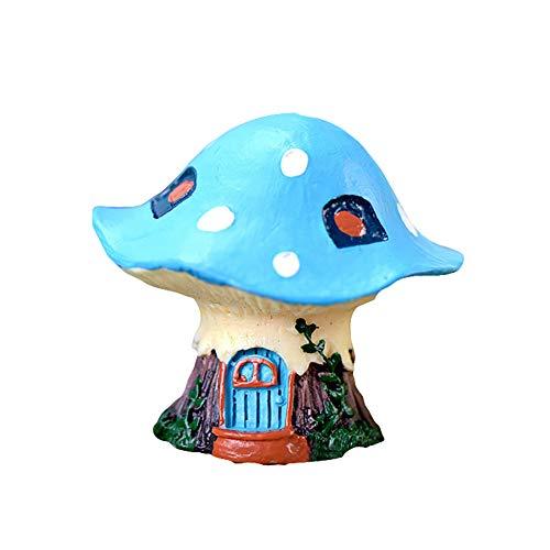 N/ hfjeigbeujfg Miniature Fairy Garden Cartoon Mushroom House Resin DIY Miniature Micro Landscape Bonsai Garden Decor - Blue
