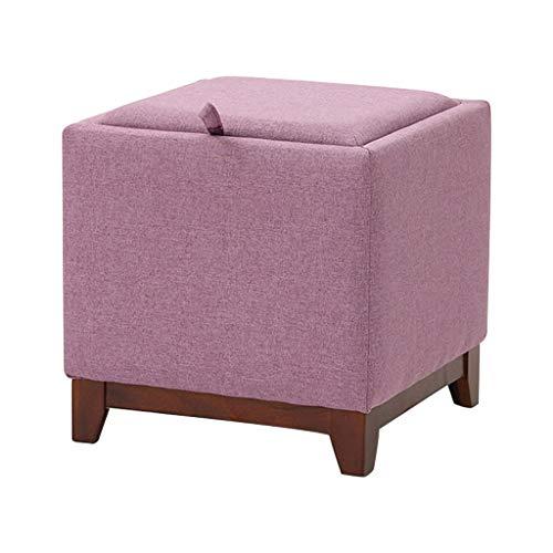 YIGEYI Accueil Tabouret Pouf de rangement de luxe Pouf de canapé de luxe avec siège, gain de place, charge max. 300kg, petit plateau à thé/table de chevet, 40 * 40 * 38 cm (Couleur : Purple)