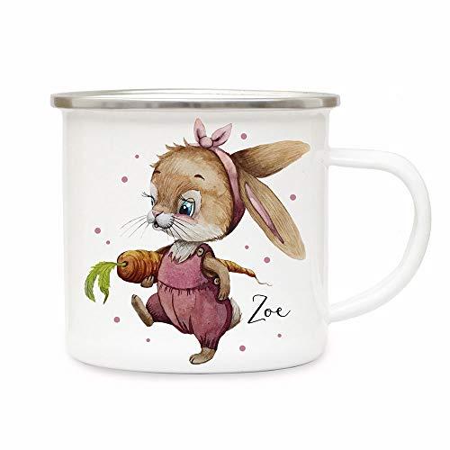 ilka parey wandtattoo-welt Emaille Becher Camping Tasse Motiv Hase Häschen Hasen Mädchen mit Möhre & Wunschname Name Kaffeetasse Geschenk eb497