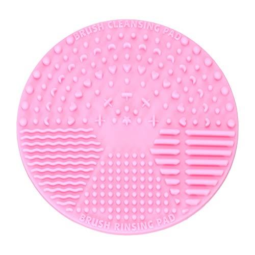 Solustre Tapis de Nettoyage pour Pinceau de Maquillage Nettoyant pour Pinceau Cosmétique avec Ventouse Tampon de Nettoyage pour Brosse Ronde en Silicone (Rose)