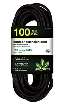 GoGreen Power GG-13700BK 16/3 100' SJTW Outdoor Extension Cord Black 100 Ft