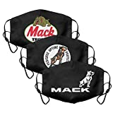 3Pack Women Men Mack-Trucks-Dog-American-car- Mouth Cover Casual Face Mask with Adjustable Ear Loops