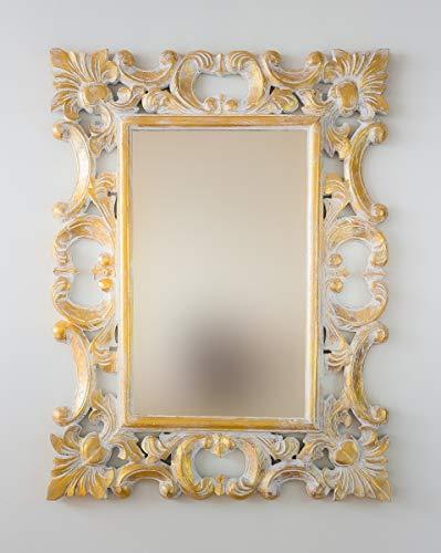 Envejecida Rococo Espejo Decorativo de Madera Gada Warta de 100x70 en Plata