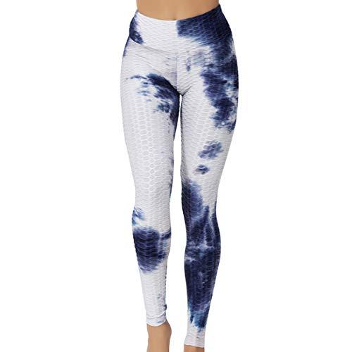Damen Sport Leggings Anti-Cellulite Yogahose Push Up Yoga Pants Slim Fit Hohe Taille Sportleggins Figurformende Sporthose Tie-Dye Retro Fitnesshose Streetwear Honeycomb...