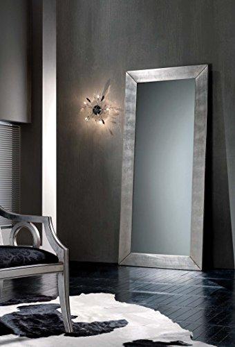 Legno&Design Miroir moderne rectangulaire feuille argentée.