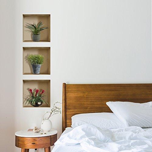 VANCORE3d壁紙シール立体ウォールステッカー植物北欧偽窓おしゃれ剥がせる本物ような写真