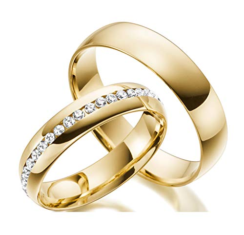 2 Handmade Ringe Trauringe aus 333/585 Echt Gold - Eheringe Verlobungsringe Gold mit Zirkonia Stein inklusive Luxus-Etui mit personalisierten Namen - Gelbgold Damen Paar Ehe-ringe mit Gravur angenehm und Allergiefrei