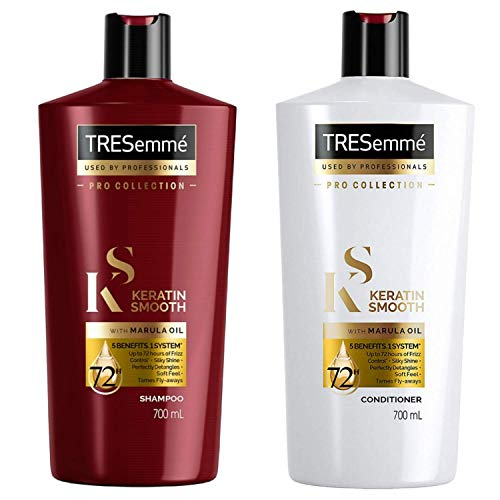 Tresemme Keratin Smooth with Marula Oil, Shampoo and Conditioner Set - Pro Collection - 24 Fl Oz / 700 mL Each