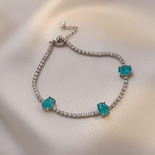 Pulsera de diamantes de cristal azul Pulsera de novia de temperamento Pulsera