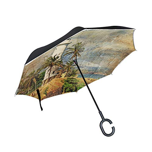 Jojogood Artistic Retro Light House Inverted Umbrella Reverse Double Layer Windproof UV Protection Upside Down Umbrella for Car Rain Outdoor Use