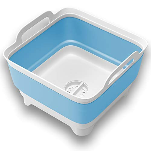 Vamako 9L Collapsible Dish tub Portable Sink, Folding Laundry tub, Washing Basin with draining Plug, Collapsable Dish Drainer, Camping Dish Washing tub, Portative wash Dish Basin. Blue