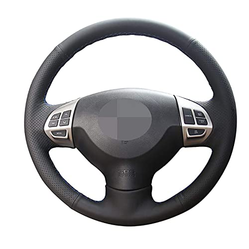 Qind1aS - Funda para volante de coche cosida a mano, color negro para Mitsubishi Outlander 2006 ~ 2013 ASX Lancer X 10 2007 ~ 2015 (rosca negra)