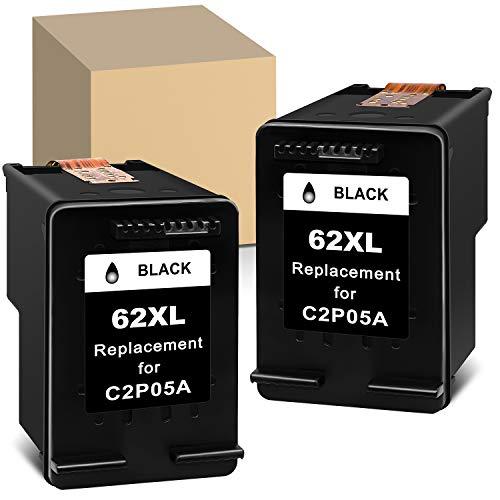 Cartuchos de tinta negra remanufacturados para HP 62 XL 62XL compatibles con HP Envy 5540 5546 7640 5640 5544 5644 5656 officejet 200 250 5740 5742 5744 (2 negro)