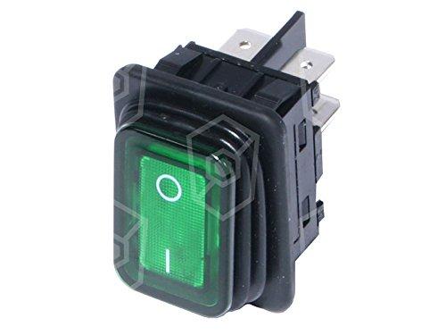 Bartscher Interrupteur à bascule vert pour friteuse lumineux 30 x 22 mm 2 NO 2 broches 250 V