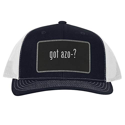 got AZO-? - Leather Black Patch Engraved Trucker Hat, Navy-White, One Size