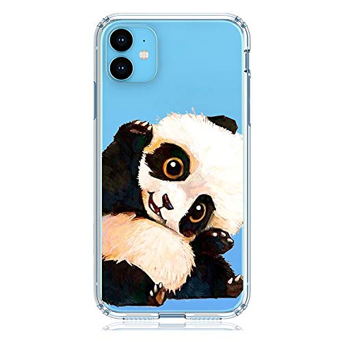 HUIYCUU Compatible with iPhone 11 Case, Shockproof Anti-Slip Cute White Animal Clear Design Pattern Funny Slim Fit Soft TPU Bumper Girl Women Cover Case for iPhone 11 / XI (6.1 inch), Panda
