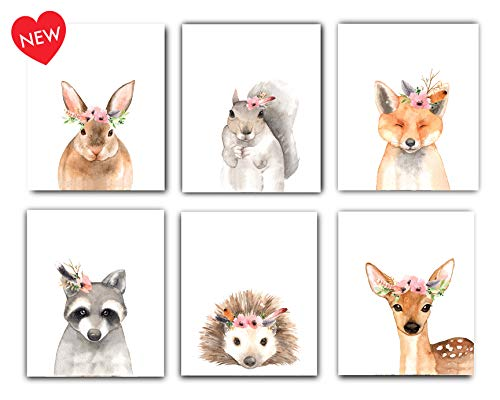Designs by Maria Inc. Woodland Floral Crown Animals Nursery Decor Watercolor Art Posters | Set of 6 (Unframed) 8x10 Prints