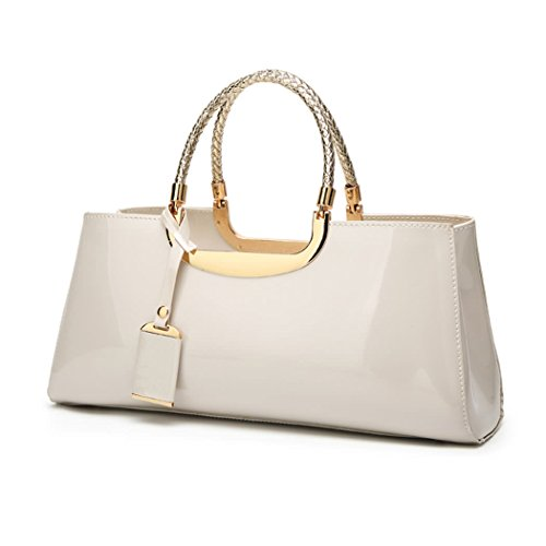 DEERWORD Damen Handtaschen Frauen Schultertaschen PU-Leder Bowlingtaschen Umhängetaschen Nicht-Gerade Weiss