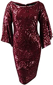 Betsy & Adam Womens Plus Sparkle Bell Sleeve Special Occasion Dress Red 16W