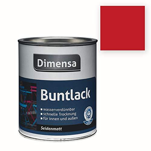 Acryl-Buntlack rot seidenmatt | Buntlack für innen & außen Feuerrot RAL 3000 | 0,75 Liter