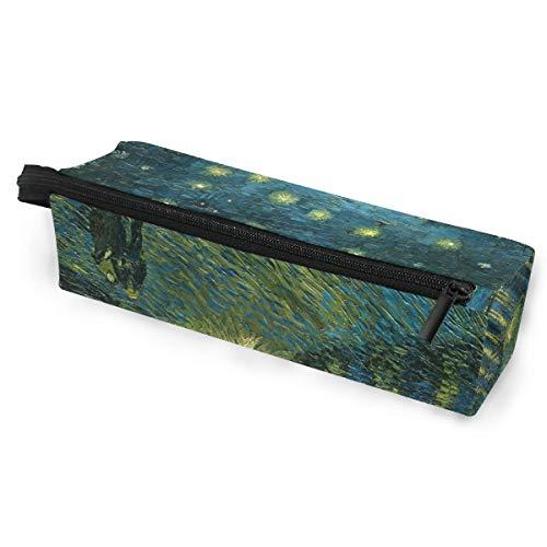 Ahomy Tragbare Brillenbox mit Reißverschluss für Brillen, Van Gogh Sternennacht über dem Rhone Federmäppchen, Make-up-Tasche