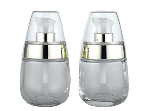 Leere nachfüllbare Glasbehälter für Make-up, Kosmetik, Gesichtscreme, Lotion, Pumpflaschen, 30 ml, 2 Stück