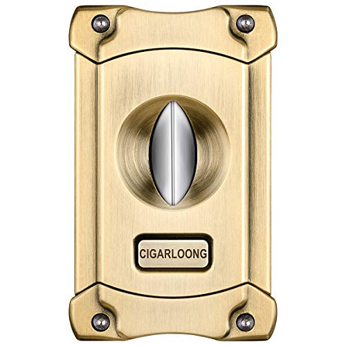 CIGARLOONG Cigar Cutter Stainless Steel Sharpening V Cut Blades with Cigar Punch