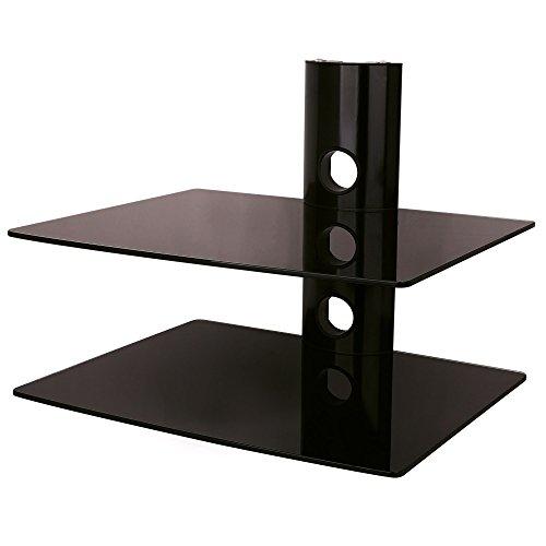 NEG Multimedia TV-Rack Suspender 502B (schwarz) mit 2 Glas-Ablagen und Kabelmanagement-System