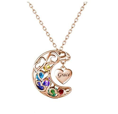 Collar familiar personalizado colgante de luna de plata 925 nombre grabado y piedra natal collar con nombre Navidad para mamá(Oro rosa 14)