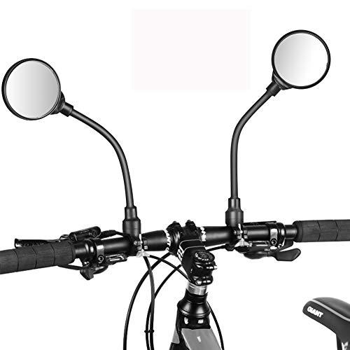 Achort Espejo Retrovisor de Bicicleta, 2 Piezas 360° Adjustable con Espejo Convexo para Bicicleta Manillar, Espejor Rotativo Universal, Ángulo Amplio para Carretera Montaña