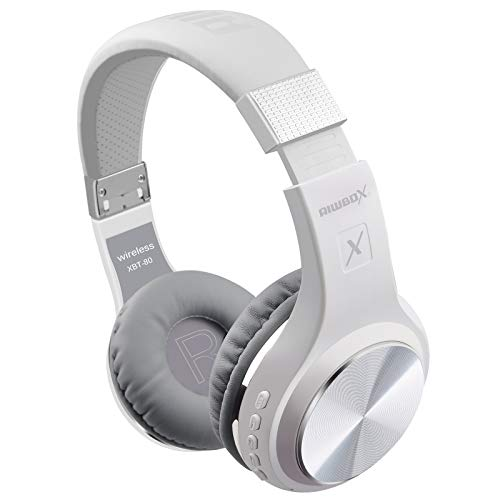 Bluetooth Headphones, Riwbox XBT-80 Wireless foldable Headset Over Ear Bluetooth headphones with Microphone and Volume Control for Cellphones iPad iPhone TV Laptop Computer (White&Silver)