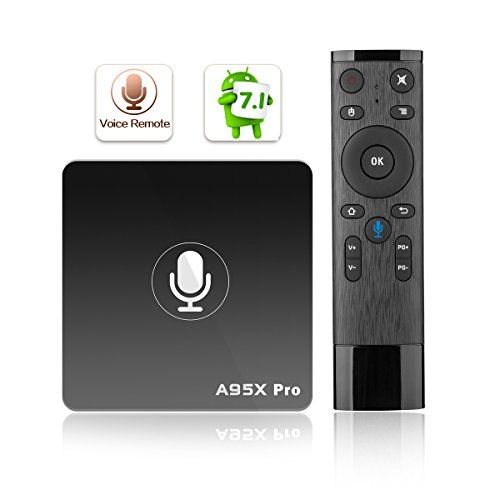 A95X Pro Google Android 7.1 TV Box 2GB RAM 16GB ROM 4K UHD Amlogic Media Player with Voice Remote 2.4G WiFi