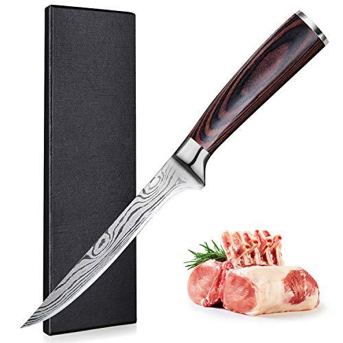 UniqueFire Couteau à Filet, Couteau à Désosser Professionnel, Couteau Filet de Sole, German Acier Carbone Inoxydable 16.5cm, avec Poignée Ergonomique avec Coffret Cadeau