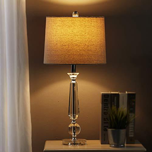 Lámpara de mesa LED de cristal, estilo tradicional francés, E27, moderna mesita de noche, clara/cromo, pantalla de tela para dormitorio, sala de estar, oficina, mesa de café, biblioteca, lino