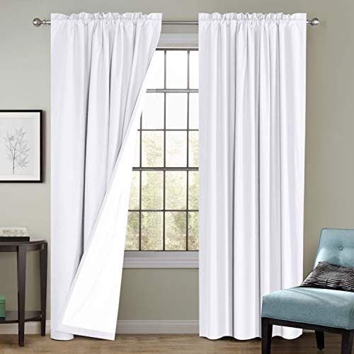 Flamingo P 100% Blackout Curtains Window Treatment Curtain with White Backing Thermal Insulated Rod Pocket Curtains for Living Room 2 Tie-Backs (2 Panels 52 x 96 Inch, White)