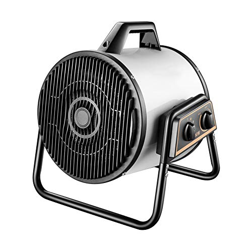 LJ Portable Industrial Electric Heater Fan 3000W Overheat Protection, Adjustable Thermostat, IPX4 Waterproof for Workshop, Garages and Large Indoor Spaces (White)