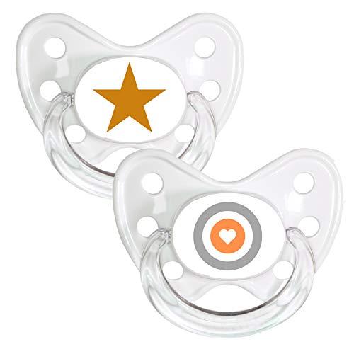 DENTISTAR® Schnuller 2er Set mit Schutzkappe - Silikon Nuckel in Größe 3, ab 14 Monate - zahnfreundlich & kiefergerecht - Beruhigungssauger - Made in Germany - BPA frei - Star + Herz Ziel