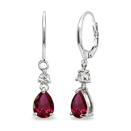 Sterling Silver Synthetic Ruby & White Topaz 8x6mm Teardrop Dangle Leverback Earrings