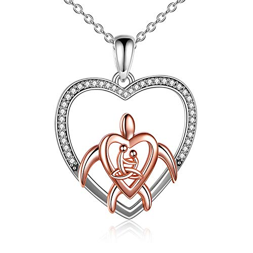 YAFEINI Celtic Knot Turtle Necklace 925 Sterling Silver Sea Turtle Pendant Necklace Yoga Heart Jewelry Gifts for Women Mom Wife