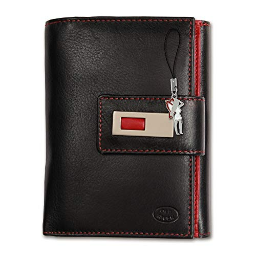 Old River Unisex Portemonnaie Geldbörse schwarz rot Leder 11x3x14cm OPD701S Leder Portemonnaie