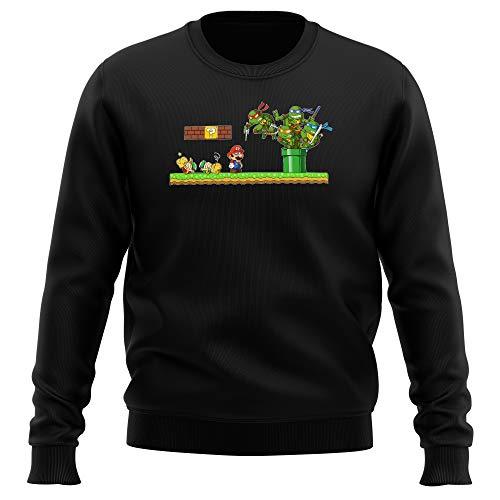 Pull Noir parodie Tortues Ninja - Super Mario - Leonardo, Raphael, Donatello, Michelangelo et Mario - La revanche des Tortues (Super Deformed Edition) (Sweatshirt de qualité premium de taille 3XL