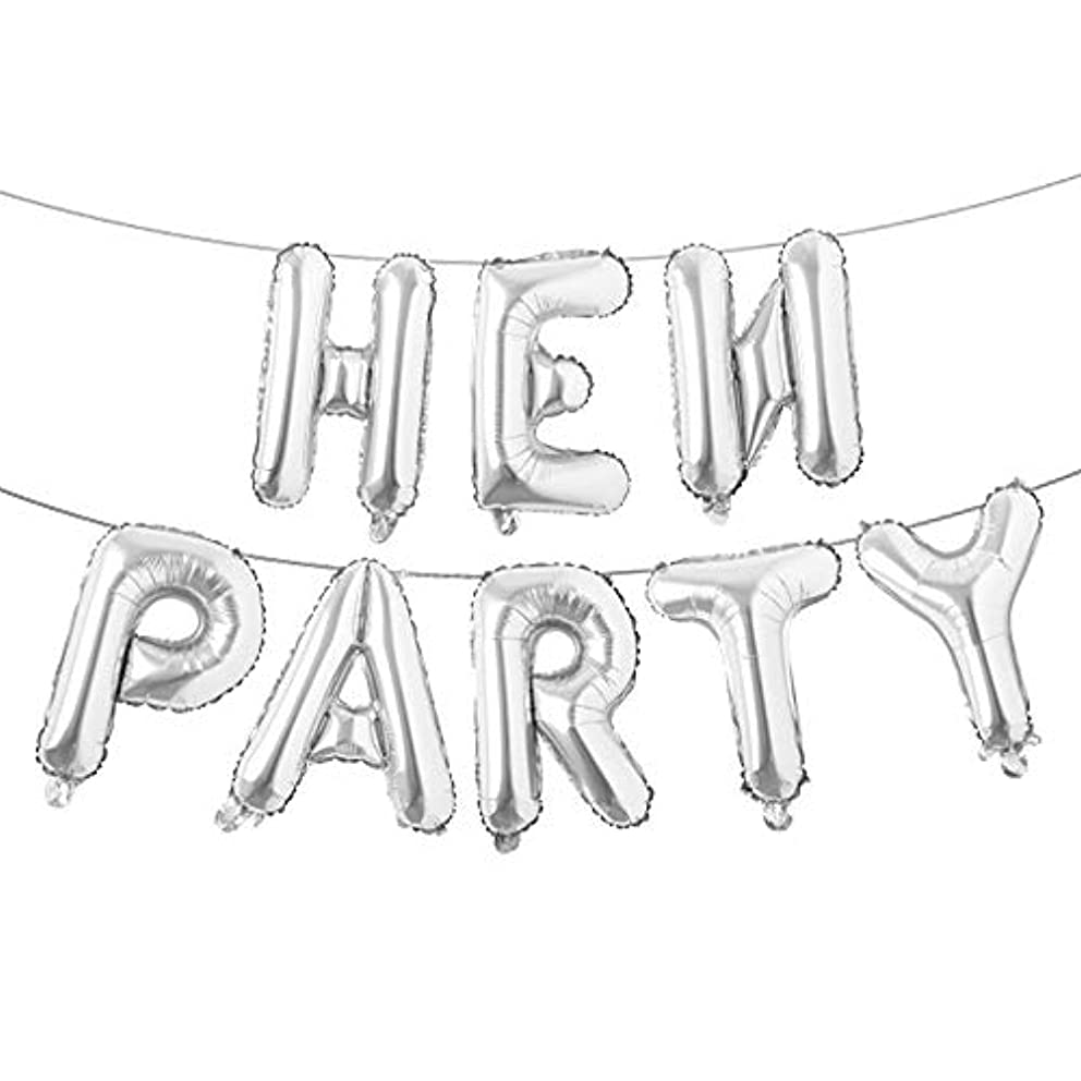Hen Party Banner Letters Balloons Pack Bachelor Party Supplies Decoration 16 Inches of Foil Mylar Supplies Kit (Silver)
