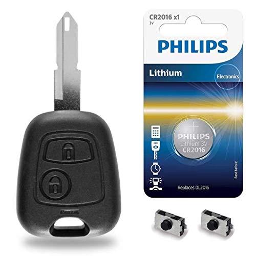Boitier Plip Télécommande Coque de Clé Peugeot 206 106 306 107 207 ✚ Pile CR2016 Philips - Kit iRace Keys®