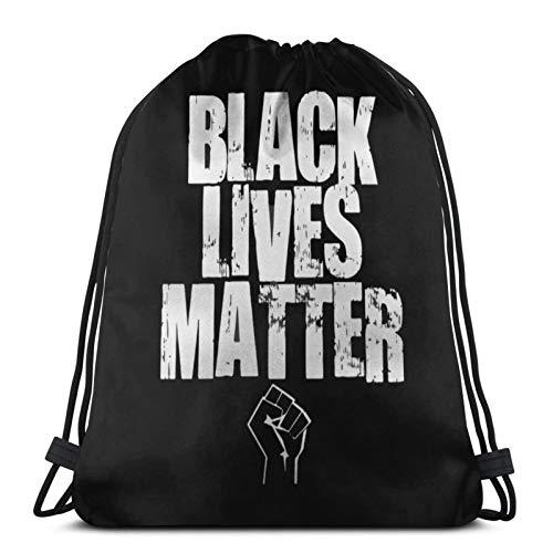 fenrris65 Drawstring Bag Black Lives Matter String Backpack Terylene for Men Women