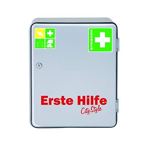 *Söhngen Verbandsschrank Heidelberg Norm – City Style (mit Sicherheitsschloss, erweiterbar, Inhalt nach DIN 13157, mit Verbandsmaterial, Rettungsdecke) silber, 0501031*