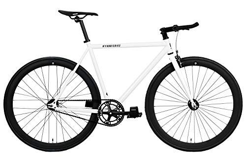 FabricBike Original Pro- Bicicleta Fixie, Piñon Fijo Flip-Flop, Single Speed, Cuadro Hi-Ten Acero, 10,45 kg. (Talla M) (Pro White & Matte Black, L-58cm)
